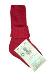 Wollen sokje met omslag, rood | Grödo