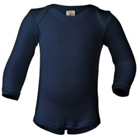 Wol/zijde longsleeve, marineblauw  | Engel