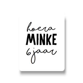 5 naamstickers - hoera (minke)