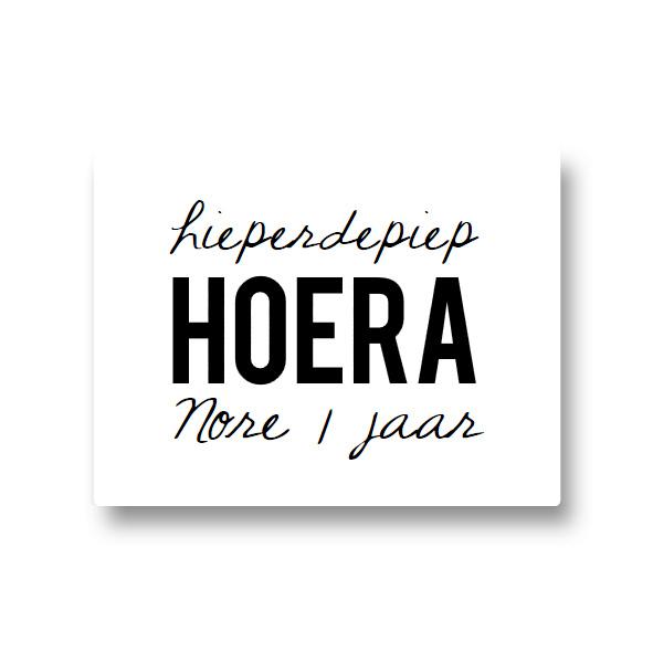 5 naamstickers - hoera (nore)