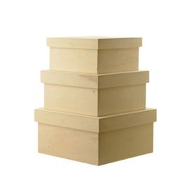 Set van 3 houten dozen