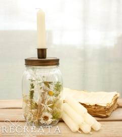 1 Candle Jar - Gevuld - met 7 kaarsjes Cream & Green