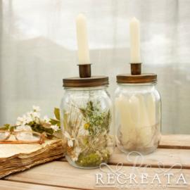 Set Candle Jars - Gevuld - Cream & Green