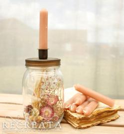 1 Candle Jar - Gevuld - met 7 kaarsjes OldPink