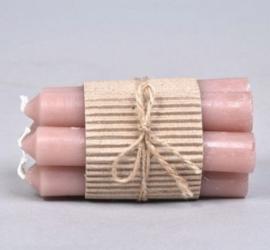 Kaarsjes 12 cm - Oud roze