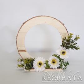 Houten Ring met Gerbera  - 25 cm