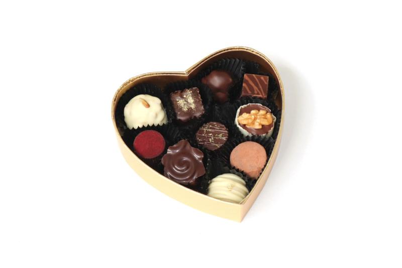 Hart met 10 biologische bonbons