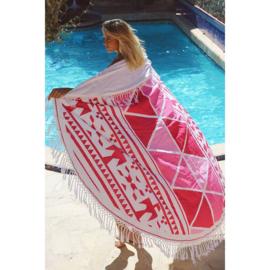 Roundie Aztec met badstof en franjes