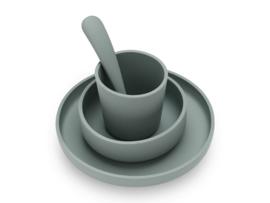Kinderserviesset siliconen ash green