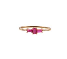 Ring kruis roze transparant 18K goud