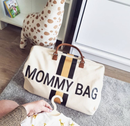 Mommy bag ecru strepen zwart/goud