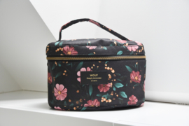 Black flowers XL make-up tas