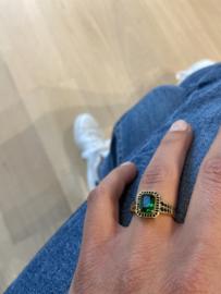 Ring rechthoek groen zwart 18k goud