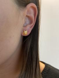 Setje kleine oorbellen wolf 18k goud