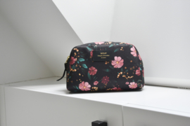 Black flowers make-up tas