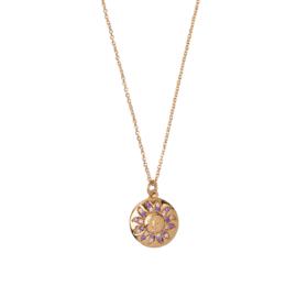 Ketting zon circkel paars roze 18K goud
