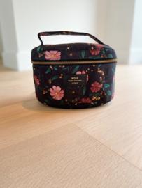 Black flowers XL make-up tas