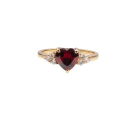 Ring hart donker rood transparant 18K goud