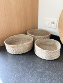 Set van 3 jute mandjes naturel