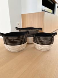 Set van 3 manden zwart/wit