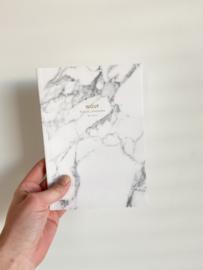 Notitieboekje white marble A5