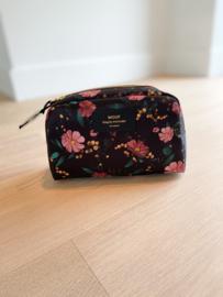Black flowers make-up tas