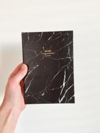 Notitieboekje black marble A5