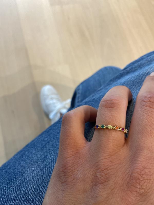 Ring stippen multi 18k goud