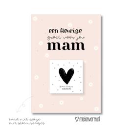 Kaart voor mama met bloemzaadjes mix