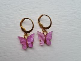 Vlinder oorbellen - Lilac purple