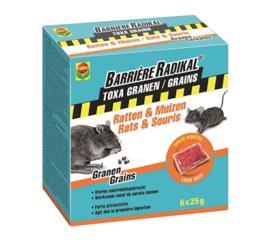 Compo Barrière radikal toxa graantjes - ratten & muizen - 150gr (6x25gr)