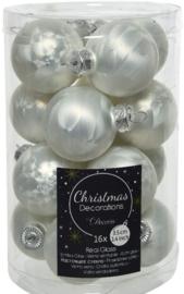 Decoris white ice kerstbal Glas