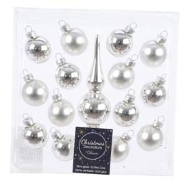 Decoris kerstballen 3cm met piekje zilver Glas