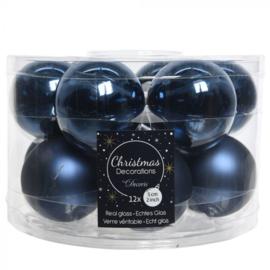 Decoris night blue kerstbal glas 6cm 10st