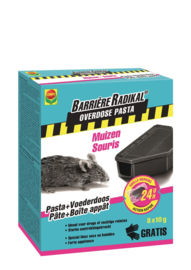 Compo Barrière radikal overdose pasta muizen 24h + voederdoos - 80gr (8x10gr)