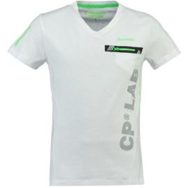 T-shirt Canadian Peak Japano Heren Blanc Vert Neon