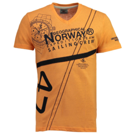 T-shirt Geographical Norway Jilly Heren Orange met gratis 3-pack boxershorts