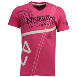 T-shirt Geographical Norway Jilly Heren Flashy Pink met gratis 3-pack boxershorts
