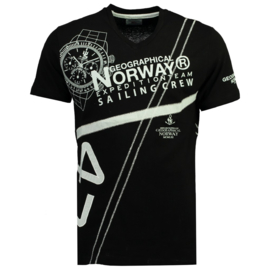 T-shirt Geographical Norway Jilly Heren Black met gratis 3-pack boxershorts