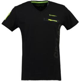T-shirt Canadian Peak Japano Heren Noir Jaune Neon