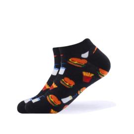 Vrolijke Enkelsokken Hamburger en Patat Maat 41-46