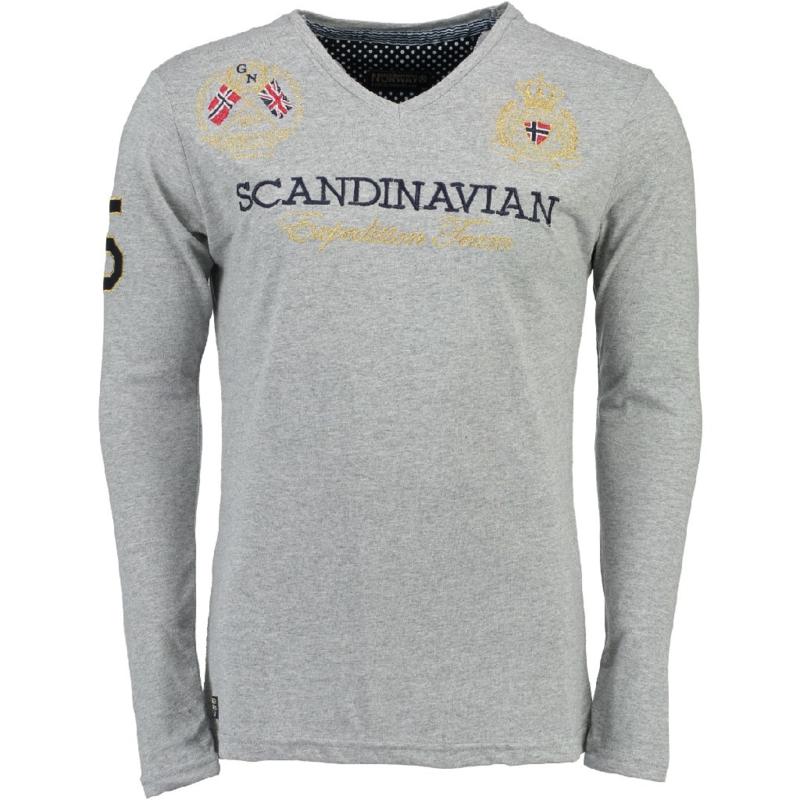 Longsleeve Shirt Geographical Norway Jevin Heren Blended Grey