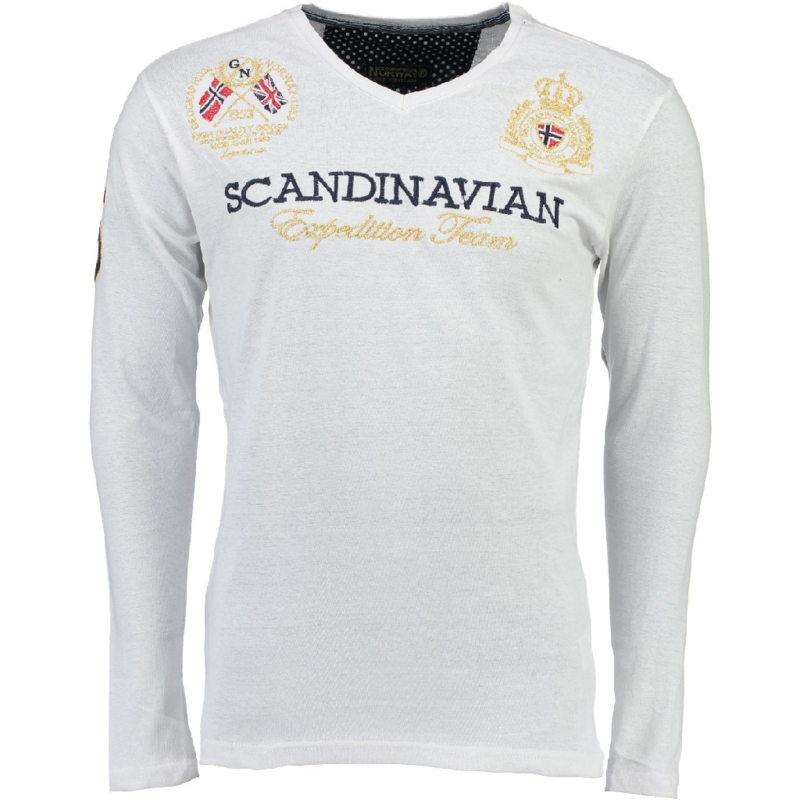 Longsleeve Shirt Geographical Norway Jevin Heren White