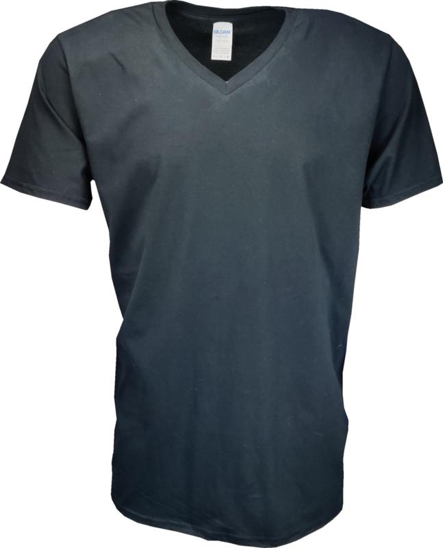 T-shirt Gildan Shirt V-Hals Zwart