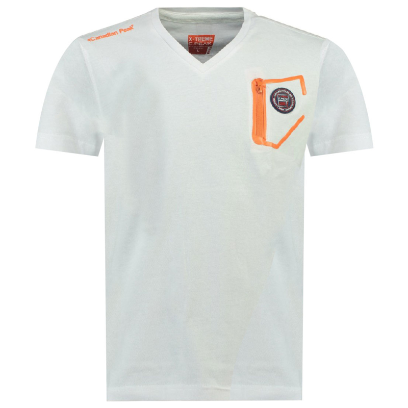 T-shirt Canadian Peak Jingo Heren Blanc Orange Flash