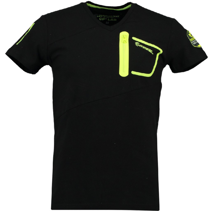 T-shirt Canadian Peak India Heren Noir Jaune Neon