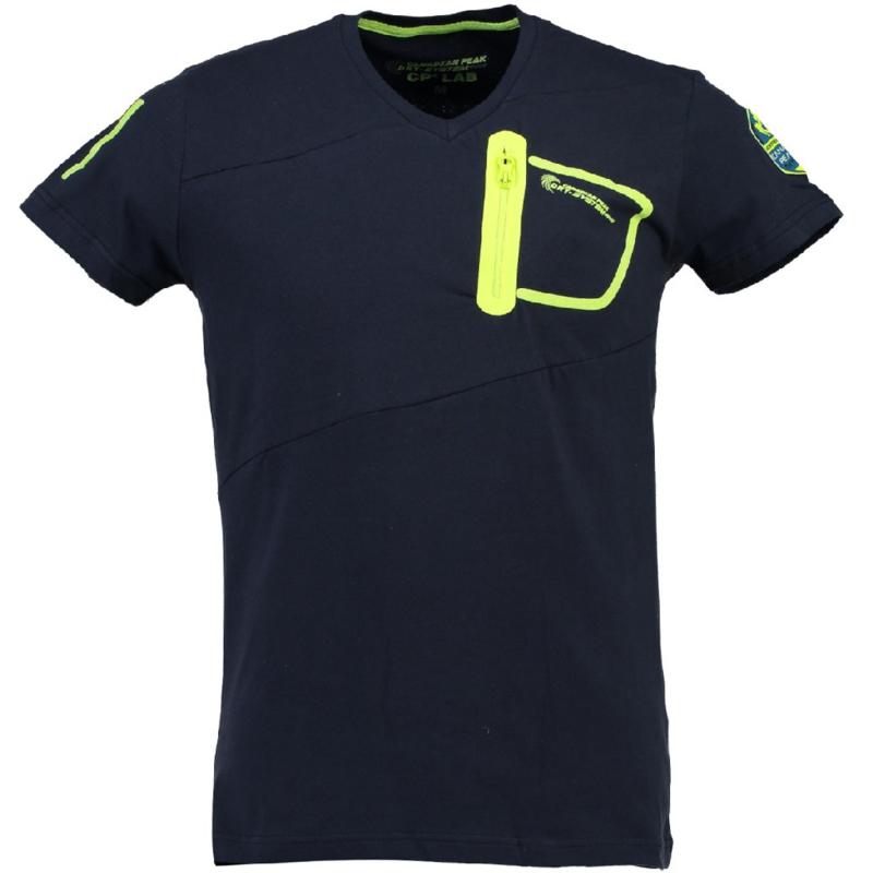 T-shirt Canadian Peak India Heren Marine Jaune Neon met gratis 3-pack boxershorts