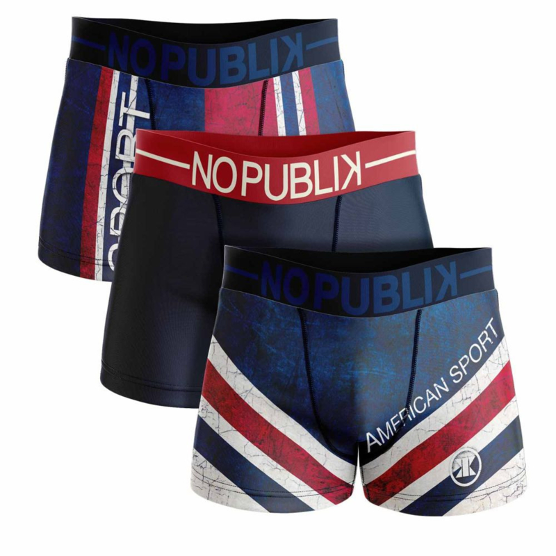 3-Pack No Publik Boxershorts American sport (alleen nog in de maat XXL)