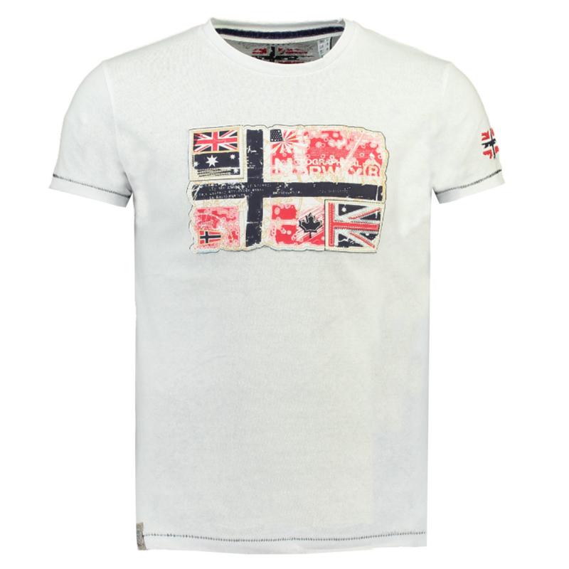 T-shirt Geographical Norway Jpepe Heren White (alleen nog maat S en M)