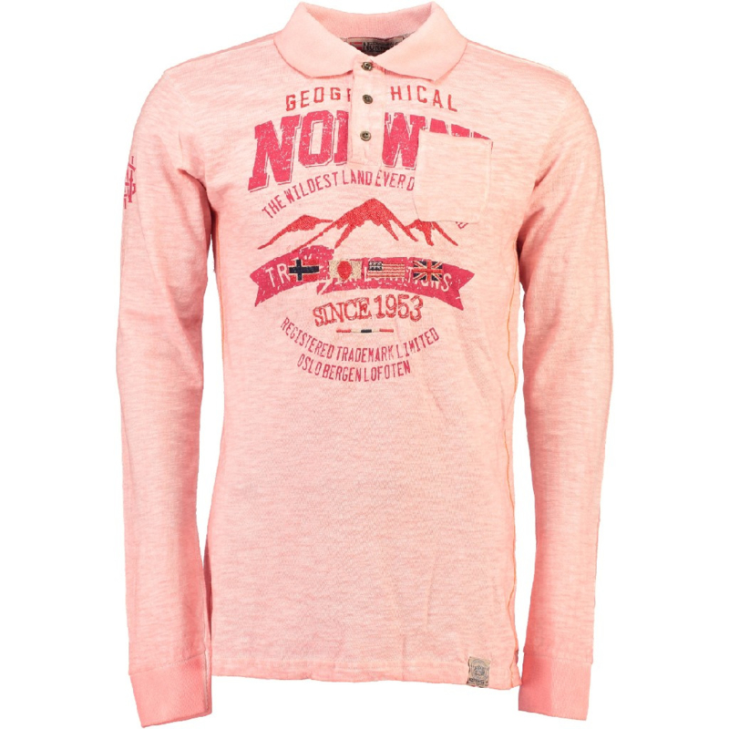 Longsleeve Polo Geographical Norway Kosstone Heren Coral